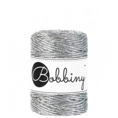 Bobbiny macramé šňůry Regular 3 mm metallic-silver